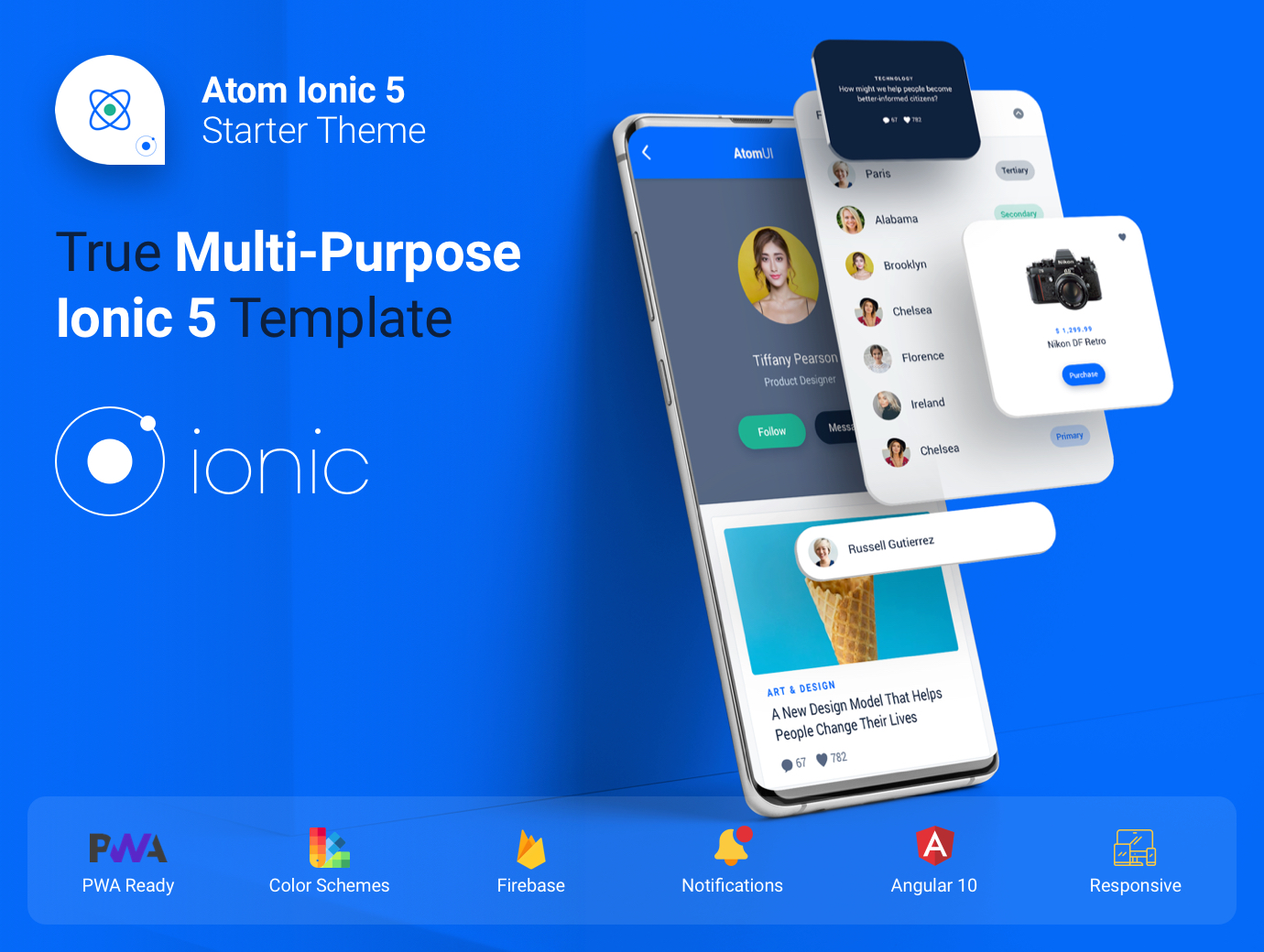 Atom UI Kit - Multi-purpose Starter Ionic 5 App Template - Angular 10, Sass, Firebase