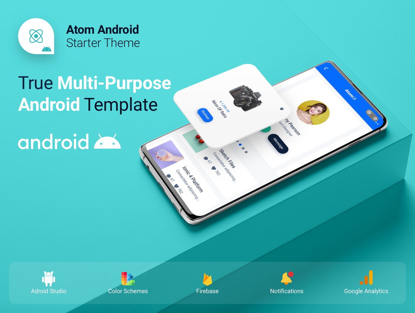 Atom Ui Kit - Android Kotlin Starter Mobile App Theme