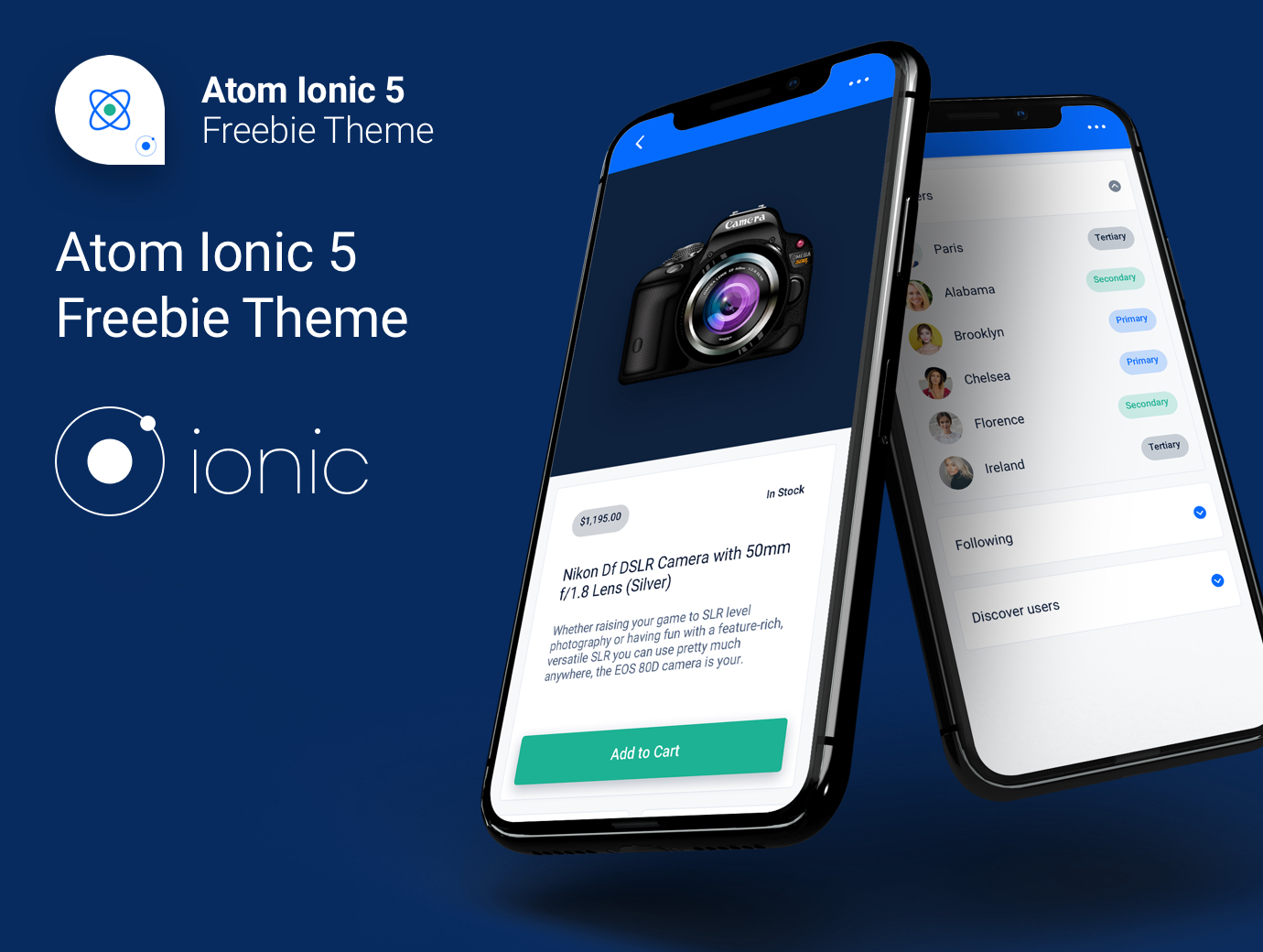 Atom Ionic 5 / Angular 10 Freebie Theme