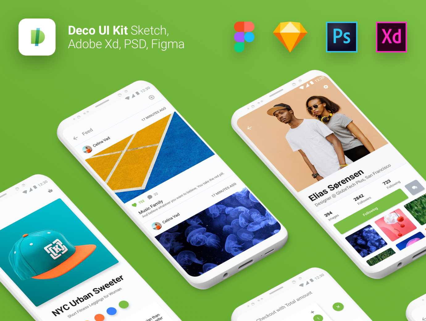 Deco UI Kit for Adobe Xd, Photoshop, Sketch & Figma